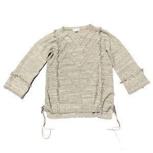 Knox Rose beige fringe 3/4 sleeve sweater M